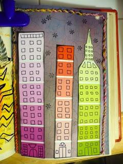 Paint Chip City Art Journal Page