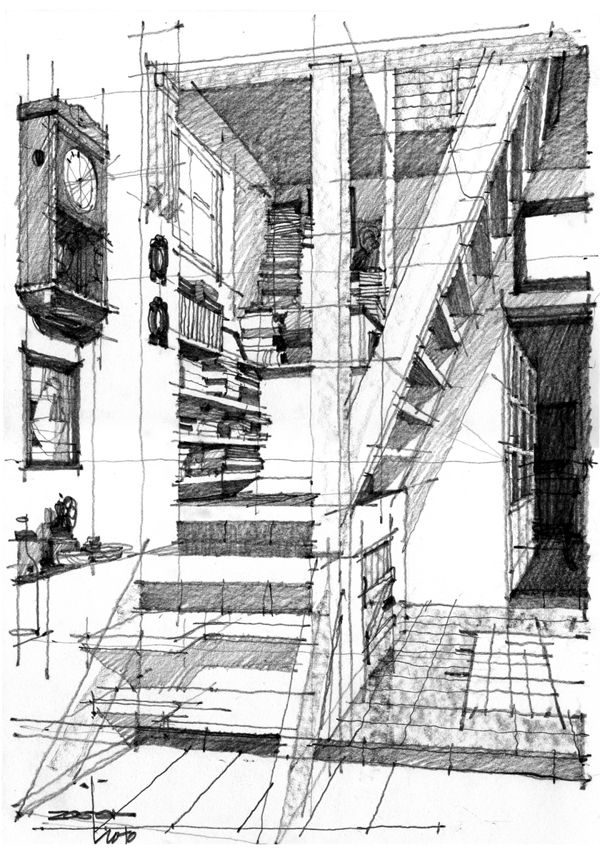 Architectural Drawings Andrei (Zoster) Răducanu - captures the mishap formation of books on the stairs and the quirky layout.