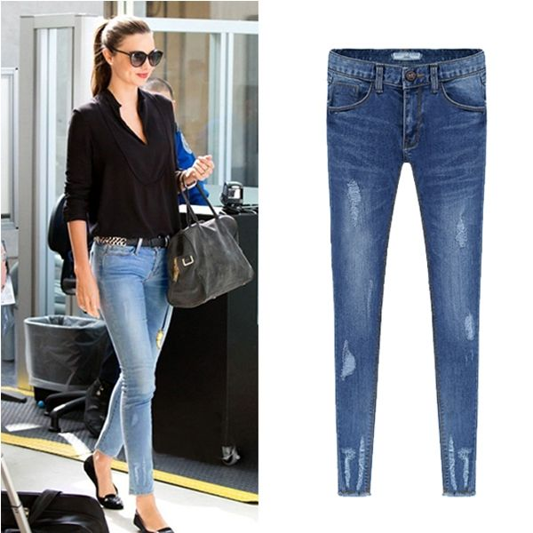 Women Western Skinny Holes Decorate Slim Denim Jeans Blue