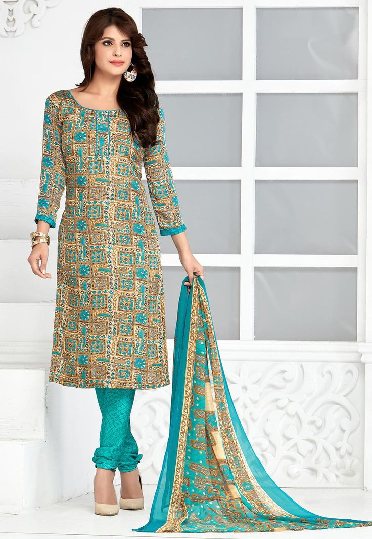 Printed Crepe Straight Suit in Beige and Teal Blue