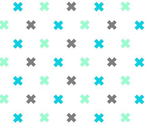 Swiss cross in blue & grey fabric design on Spoonflower