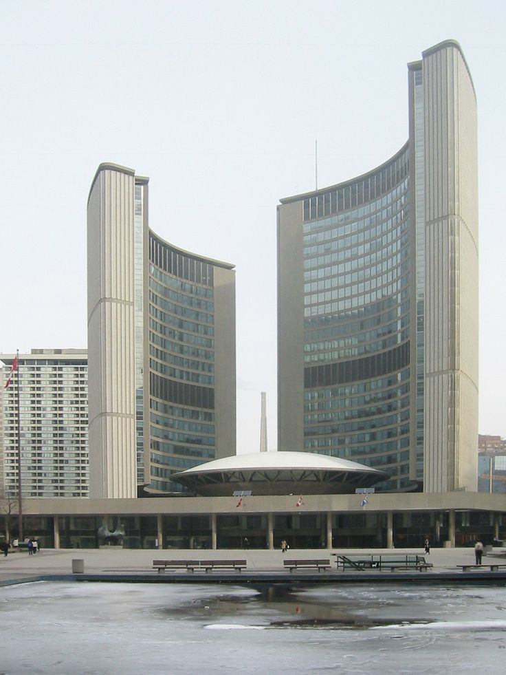 Toronto City Hall, Viljo Revell, 1965 // curved shells provide strength and rigidity against overturning via wind and earthquake