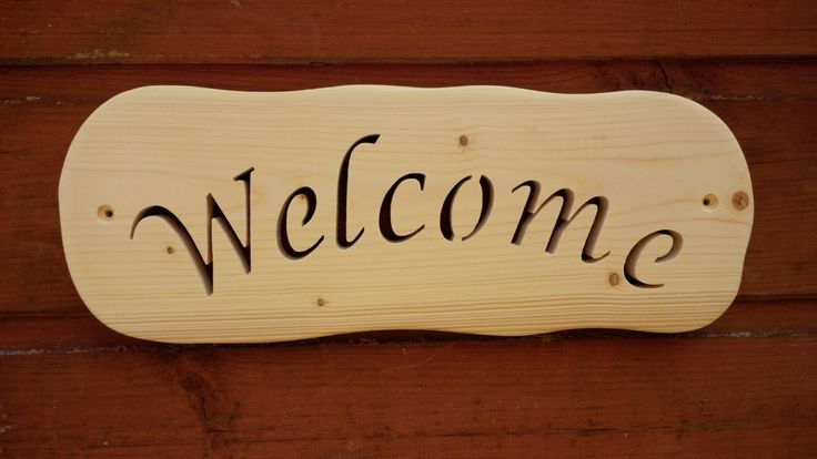 Solid Wood rustic style 'Welcome' or other name/ word plaque. Any name on these plaques. by BeanandFlaps on Etsy