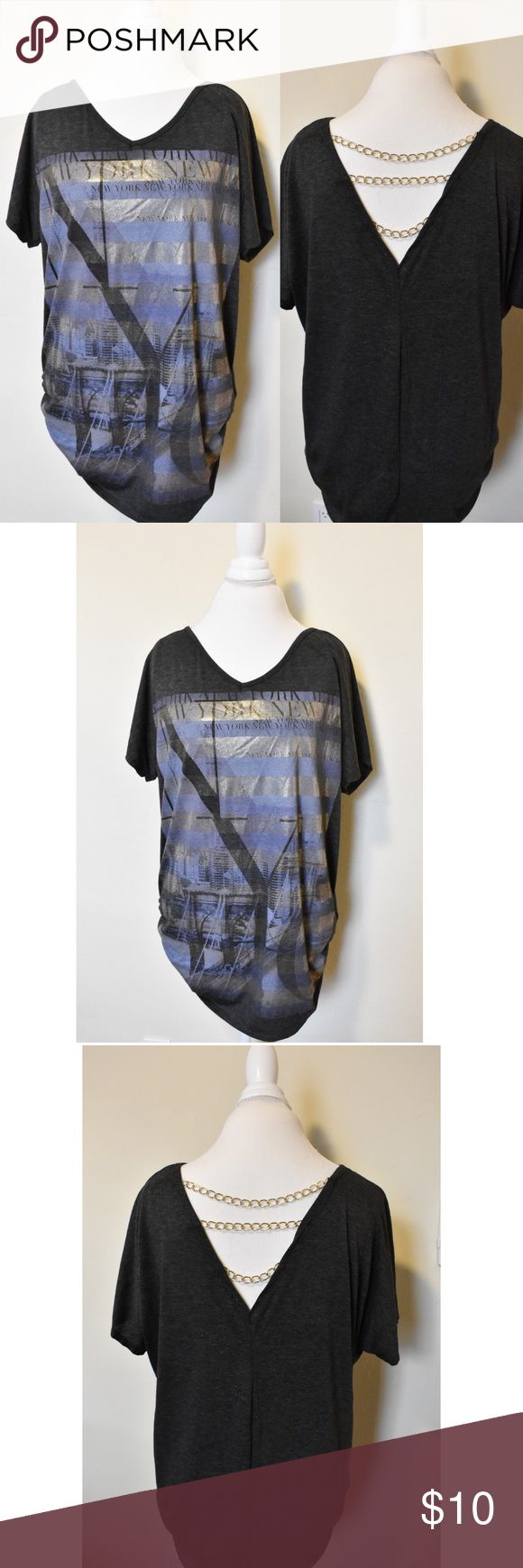 "New York Tee Size 1X Love NY? 🍎 Rep your love in this comfy silk screen tee. Slouchy fit, gathered at hips, and gold chain detail across the back. (Bust 25"")Tee is dark gray and silk screen features blues and gold. NEVER WORN! Brand new! MM Plus Tops Tees - Short Sleeve"