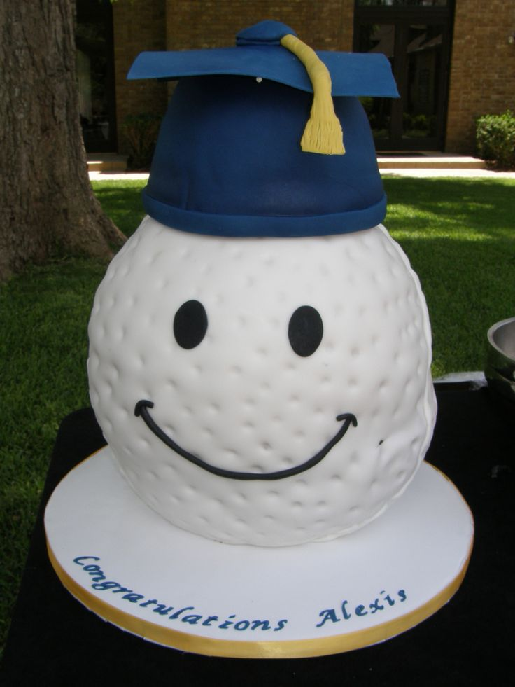 Graduation Cake - by Dee-licious Cakes (golf ball with a grad cap)  http://www.dee-liciouscakes.com/