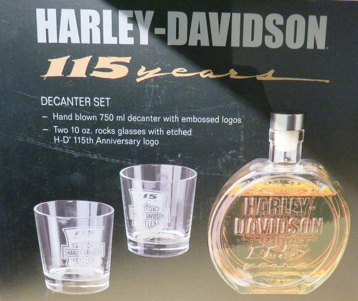 Harley-Davidson decanter set w/ 2 -10 oz glasses