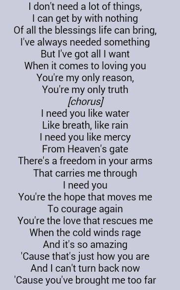 Lyrics for i need you