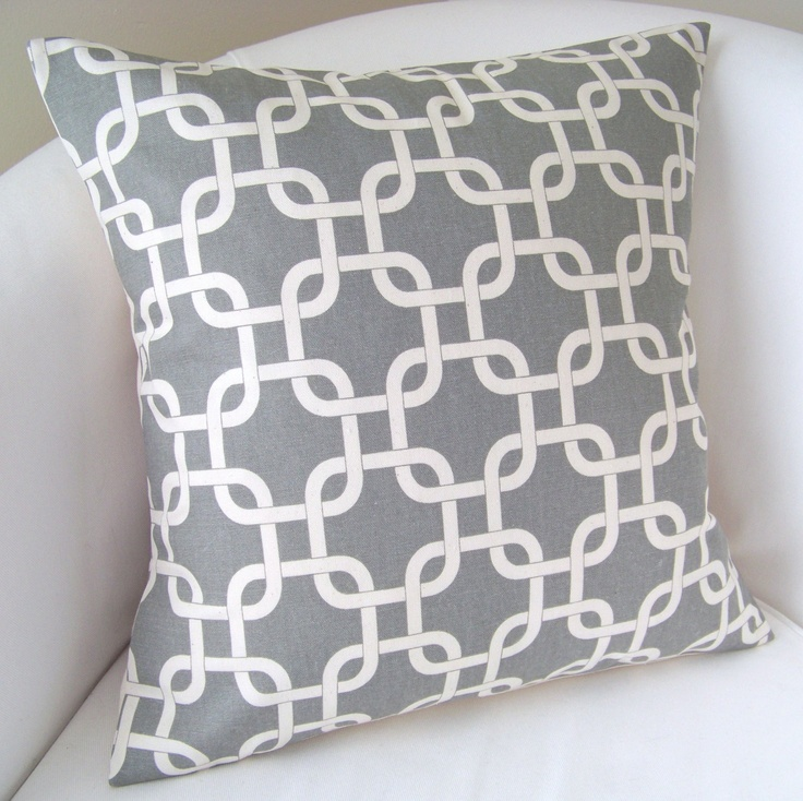 Gray Pillow Cover 18x18 Inch Decorative Pillow Accent Cushion Throw Grey. $20.00, via Etsy.