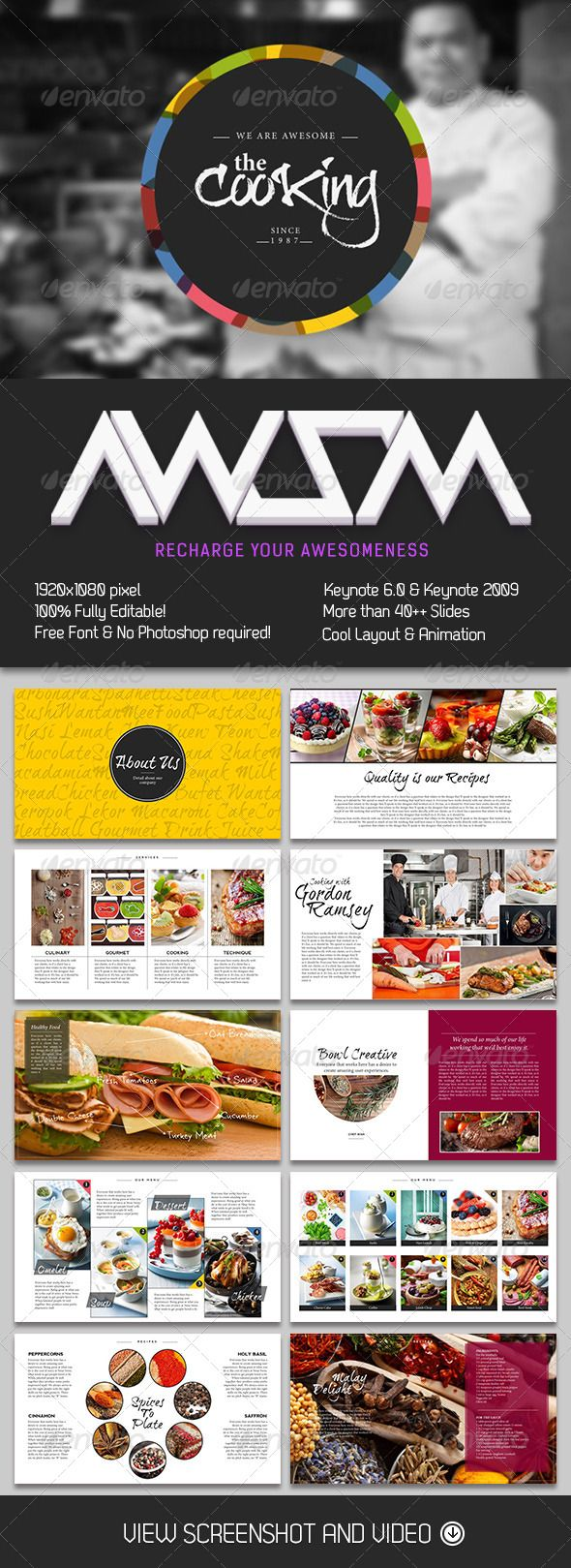 Presentation Templates - Cooking Master Keynote Template | GraphicRiver, presentation, design,