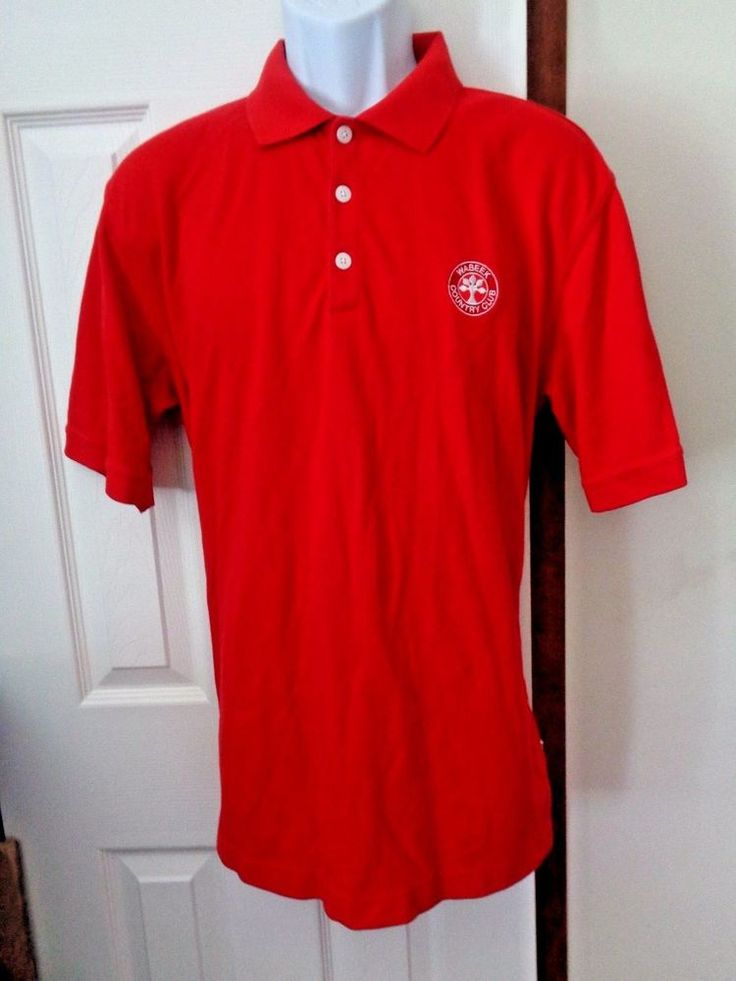 NIKE Dry-Fit Red Polo Shirt Men's Size Large Embroidered Logo Made In Malaysia #Nike #PoloRugby