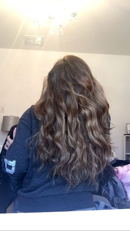 Natural hair curls beautiful teen girl long balayage light brown blonde highlights easy heatless waves wavy curly