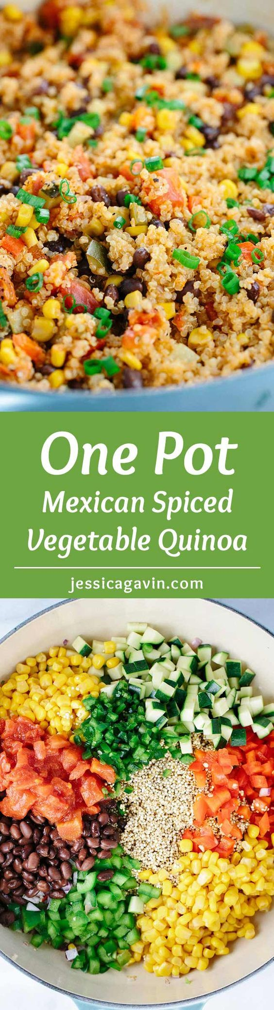 One Pot Mexican Spiced Vegetable Quinoa - This recipe is loaded with bold flavors and healthy ingredients like protein, fiber, and vegetables in each delicious spoonful. | jessicagavin.com