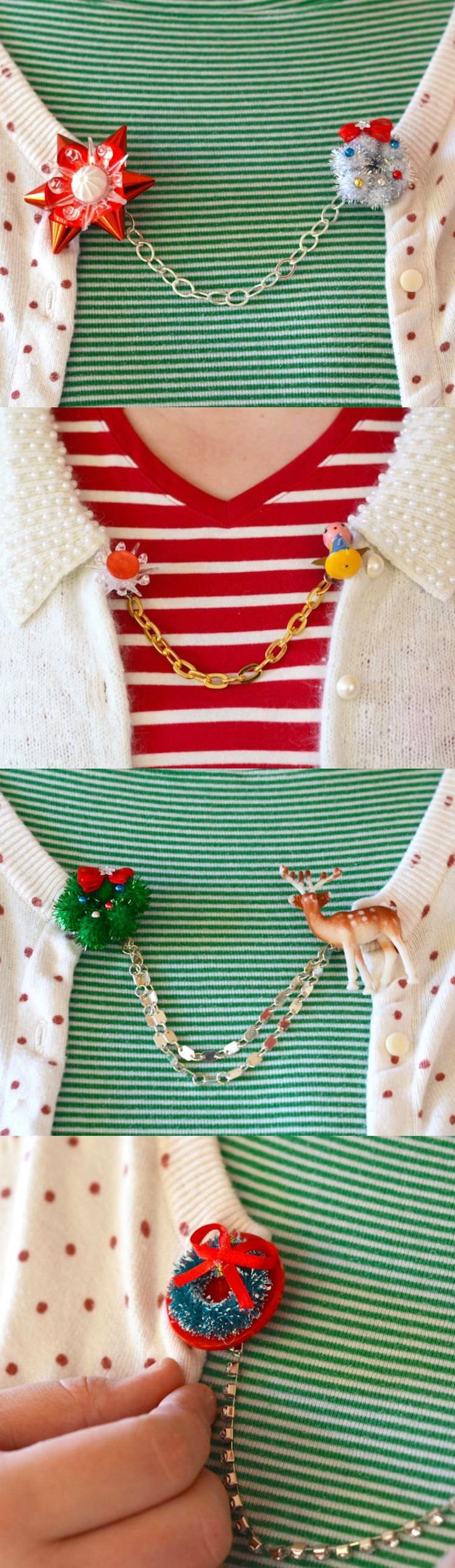 Use vintage or new holiday minis to create these unique DIY Christmas sweater clips! Perfect for embellishing your cardigans and other fashion items during the holidays. Learn how to make with this tutorial!