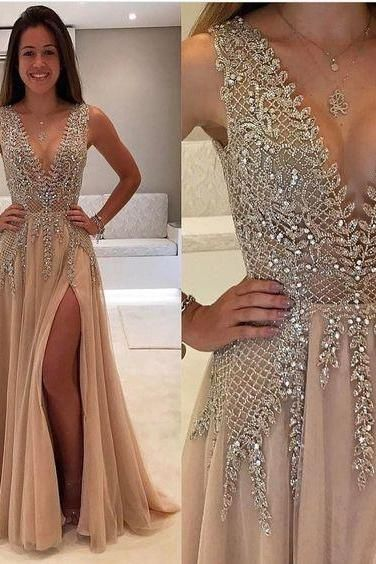 Prom Dress New Style Deep V Prom Dress,Beaded Prom Dress,Fashion Prom Dress,Sexy Party Dress,Slit Evening Dress
