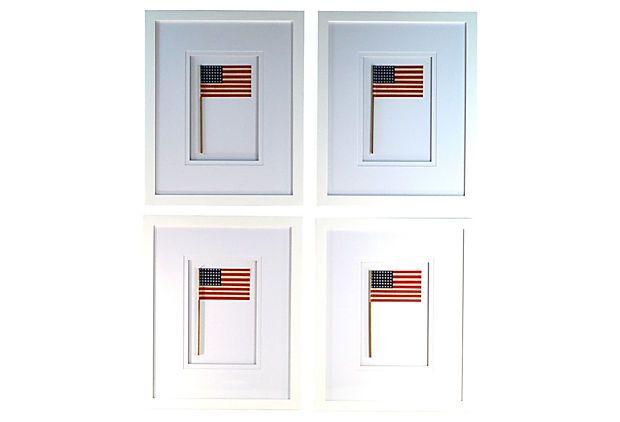 Framed 48 Star Flags, S/4 on OneKingsLane.com