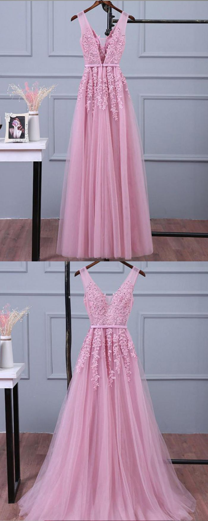 Vneck lace appliqued tulle pink long prom dress pm in