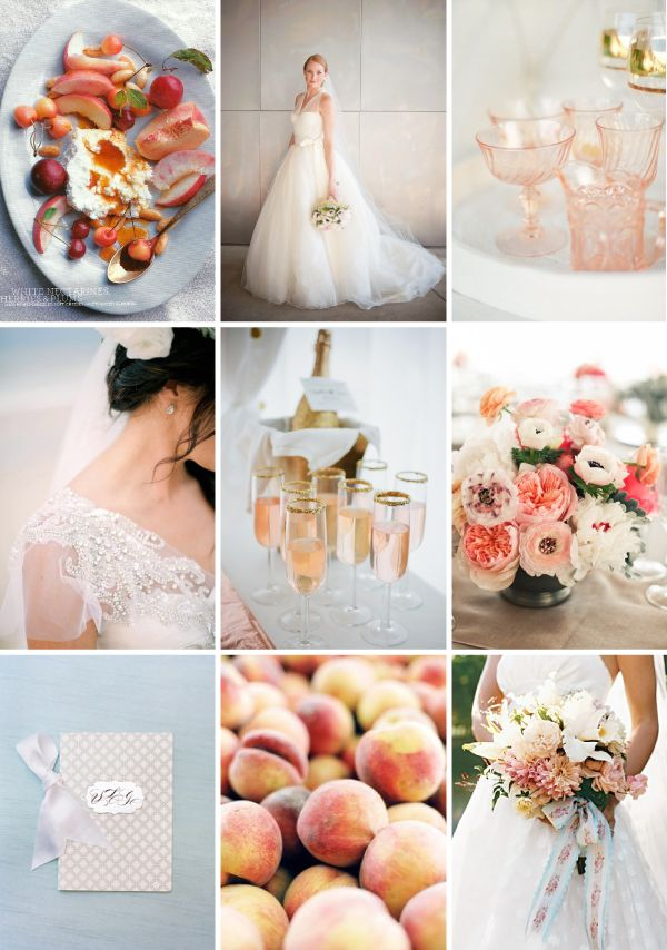peach and blue-gray summer wedding inspiration