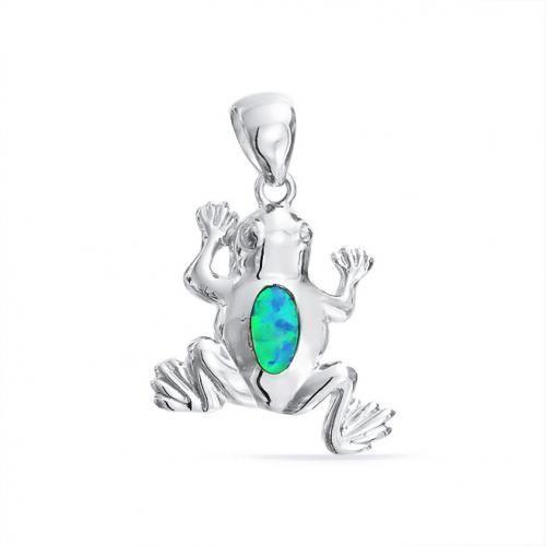 Lucky Frog Blue Opal Gemstone Nautical Pendant 925 Silver