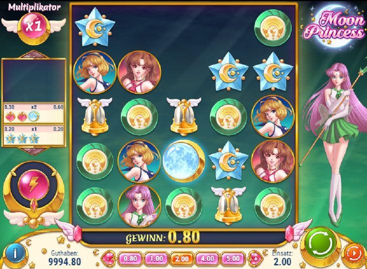 Moon Princess er et videoslotspil med et 5x5 gitter. Symboler falder ned i gitteret for at skabe gevinstkombinationer. #MoonPrincess #videoslotspil