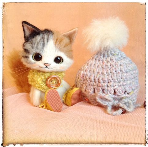 """Needle felted cat by Japanese artist that goes by """"Creamy"""""""