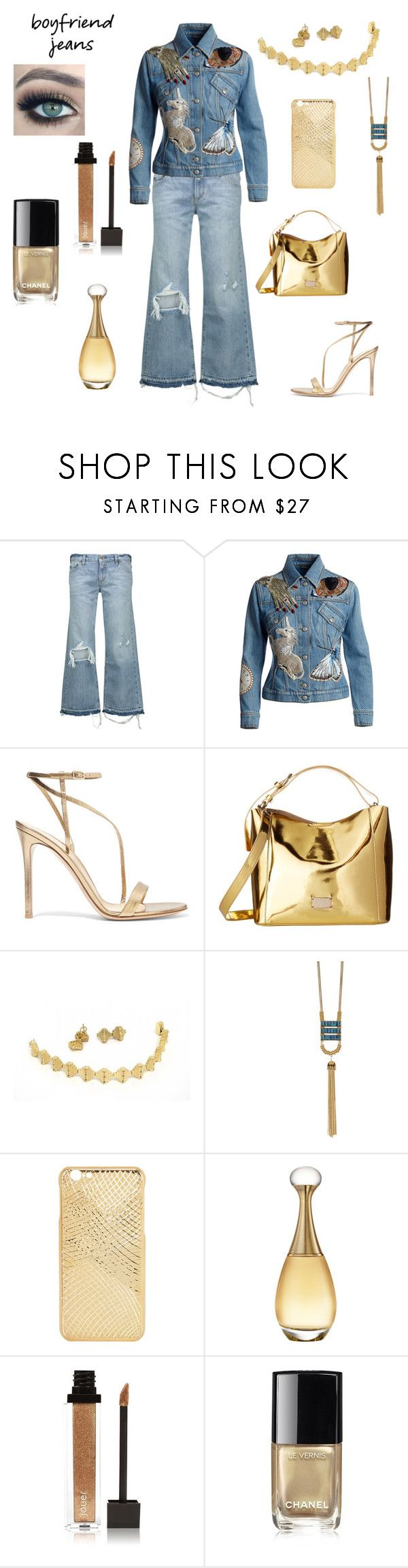 """""""Boyfriend Jeans...Denim n Gold"""" by gigiglow ❤ liked on Polyvore featuring Simon Miller, Alexander McQueen, Gianvito Rossi, Frances Valentine, Botkier, Christian Dior, Jouer and Chanel"""