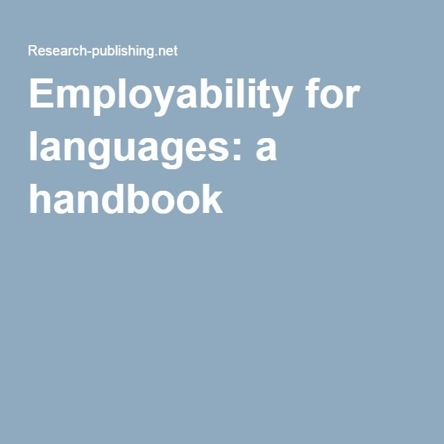 Employability for languages: a handbook