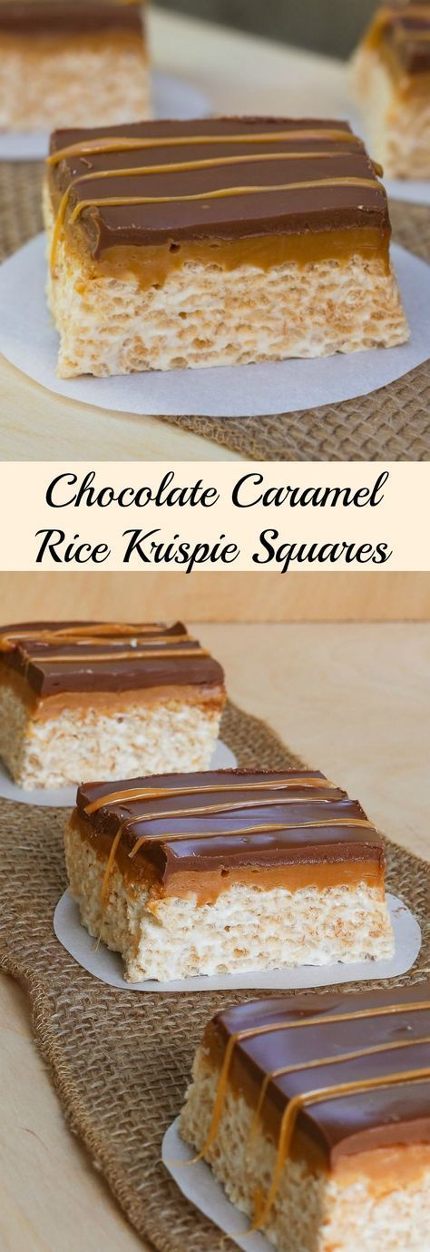 This recipe for Chocolate Caramel Rice Krispie Squares takes an old time favorite to a whole new level. Rice Krispie squares with peanut butter, a gooey caramel layer, then topped with chocolate!