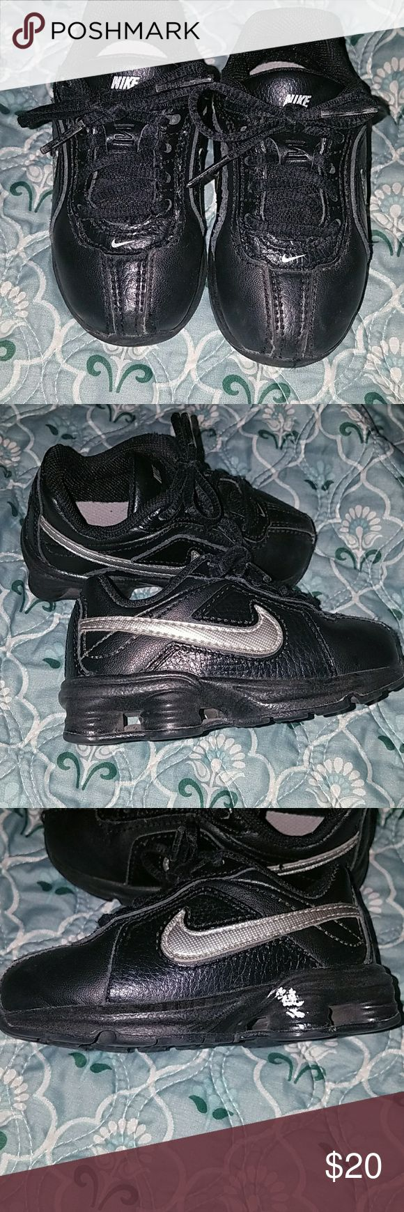 Boys Nike shox Black nike shox size 6c in good condition left shoe has small amount if white paint on heal Nike Shoes Sneakers