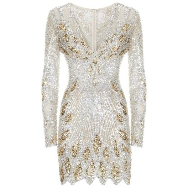 Jovani Sequin Mini Dress ($2,070) ❤ liked on Polyvore featuring dresses, sparkly cocktail dresses, long cocktail dresses, white dress, long evening dresses and embellished cocktail dress