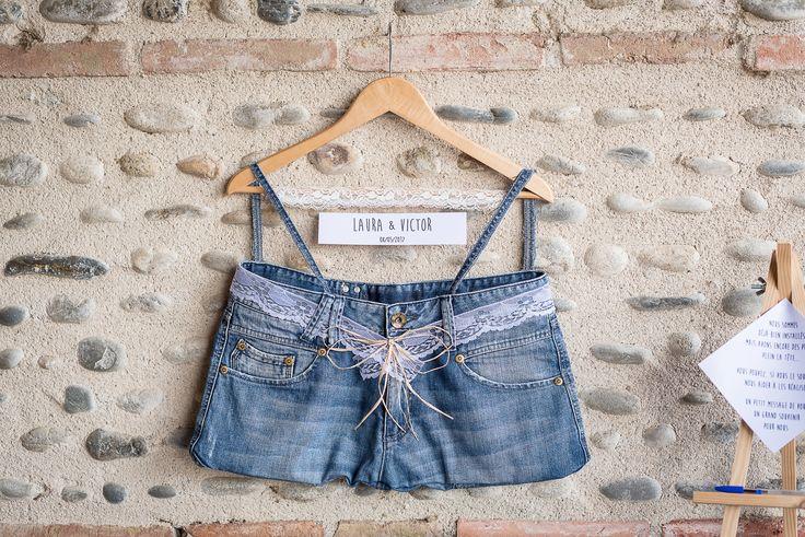Urne de mariage en jeans.Original et chic. #denimchic #mariage #wedding #jeans
