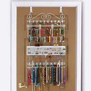 Amazon.com: Overdoor Wall Jewelry Organizer in White By Longstem - hold 300