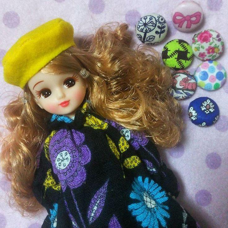 クルミボタン作り楽しい🎵    このワンピースにベレー帽かぶせると生麦生米生卵➰😆🎵が流れる😂👯 #リカちゃん#licca#ハンドメイド#handmade#ファッション#fashion#ドール#doll #くるみぼたん  #ドリフ#生麦生米生卵#合唱団