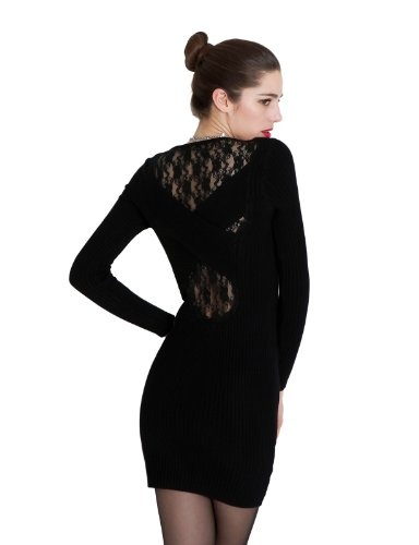Doublju Women's Slim OnePiece Dress With Cross Lace | My Clothing Online Store