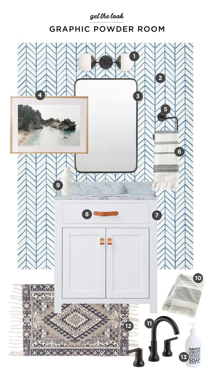 A Fun & Graphic Powder Room Reveal Wallpaper accent wall