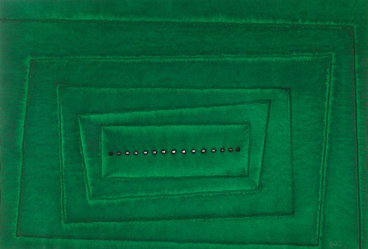 Sohan Qadri Medium: Ink and dye on handmade paper Year: 2003 Size: 27.5 x 39.5 in.