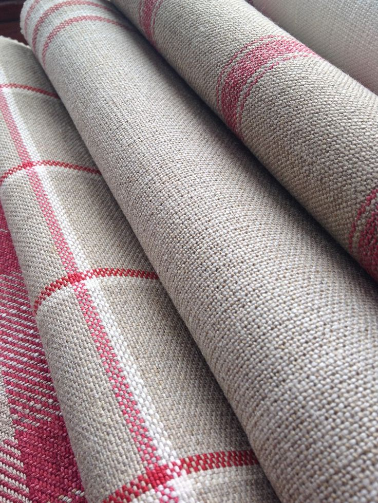 Collection: Linens.  Fabric:  Angus stripe nordic red,  Grain stripe nordic peony, Skye check peony,  Kintyre check peony.