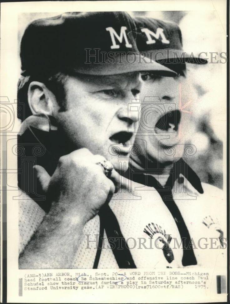 1975 Press Photo Michigan football coaches Bo Schembechler and Paul Schudel.   eBay