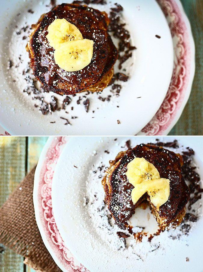 Banana nut buttermilk pancakes with dark chocolate