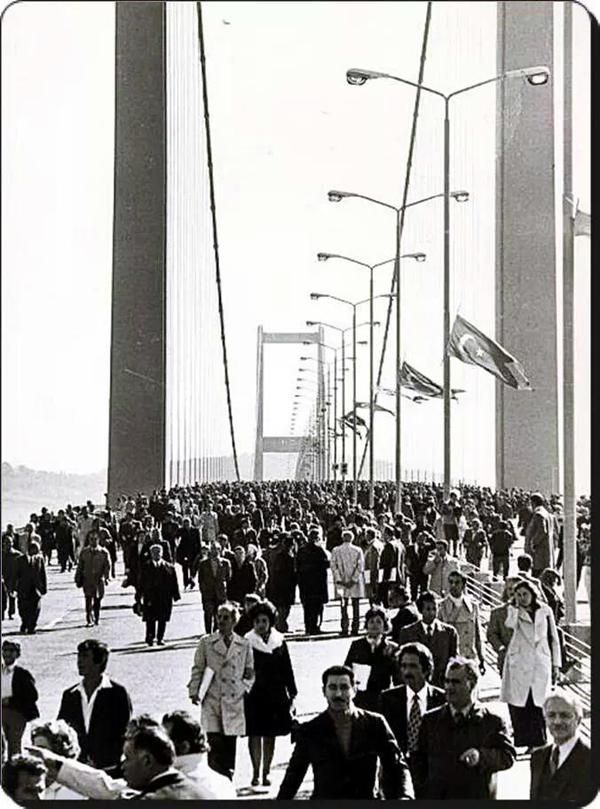 The opening day of the Bosphorus bridge,30th October 1973