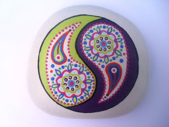 Yin Yang Mandala Hand Painted Pebble. by Quacraft on Etsy, £8.00