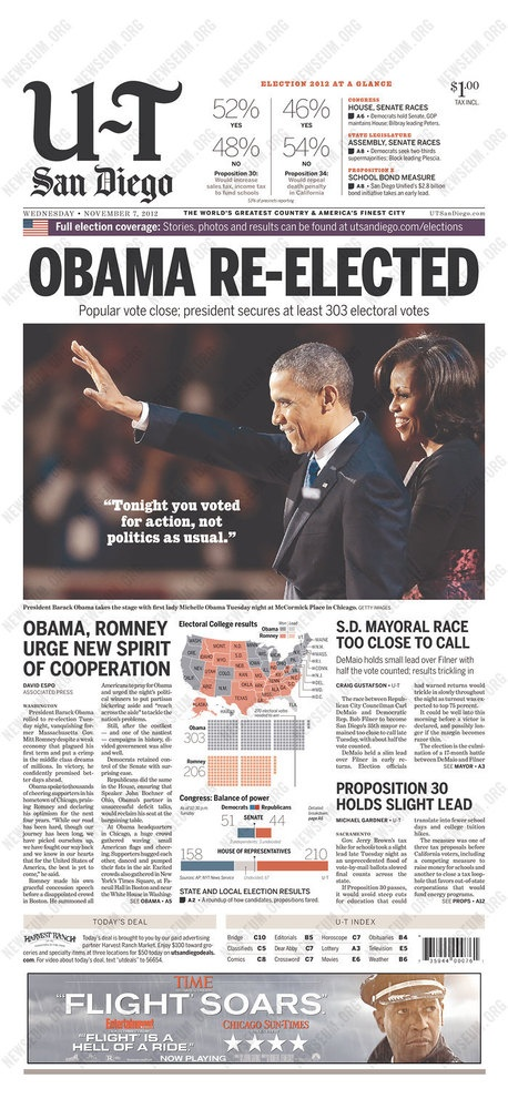 Newspaper Front Pages Cover Obamau0027s Re-Election President Obama - barack obama resume