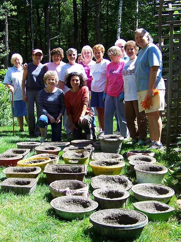 A garden club just finished making hypertufa pots