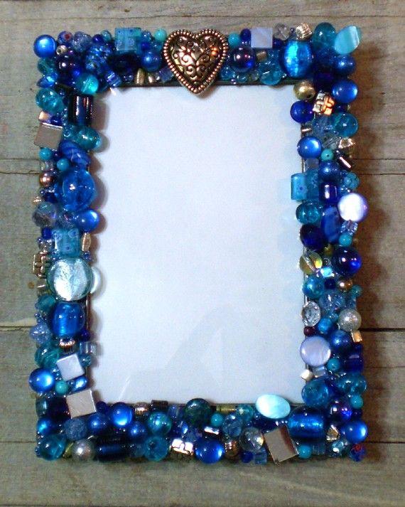 Mosaic Jeweled Picture Frame  Blue ♥ by 2ndTimeAroundMosaics on Etsy, $45.00