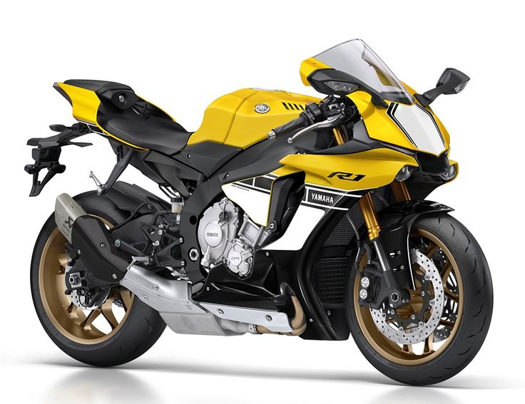 Celebrating 60 years of motorcycle production and competition, this 60th Anniversary YZF-R1 gets the iconic Yamaha Kenny Roberts yellow and black speedblock racing colours and graphics, complete with