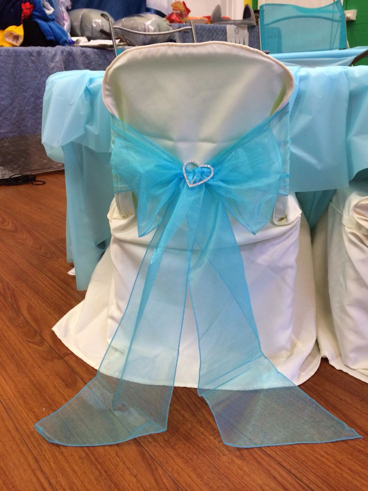 Frozen theme chair cover and sash finished with a gorgeous diamonte buckle <3