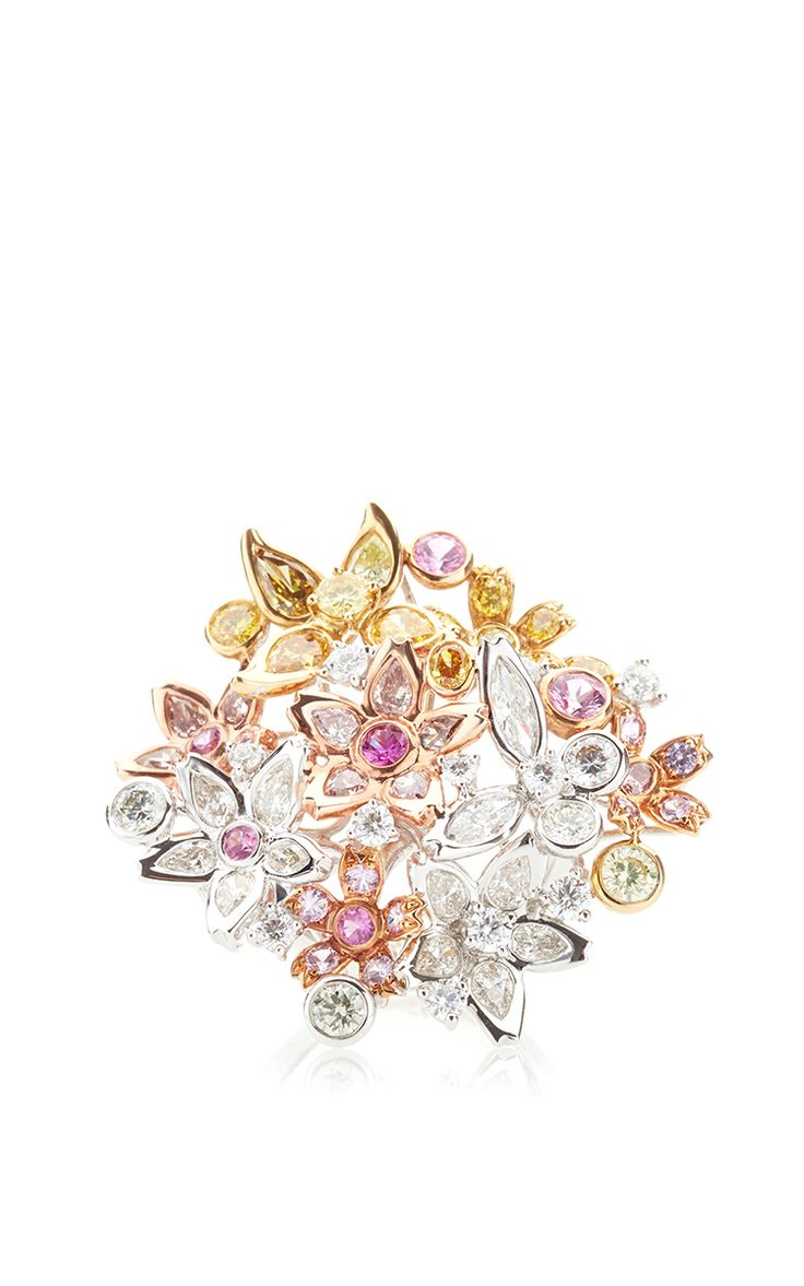 Spring Blossom Color Diamond Ring by Anna Hu Haute Joaillerie for Preorder on Moda Operandi