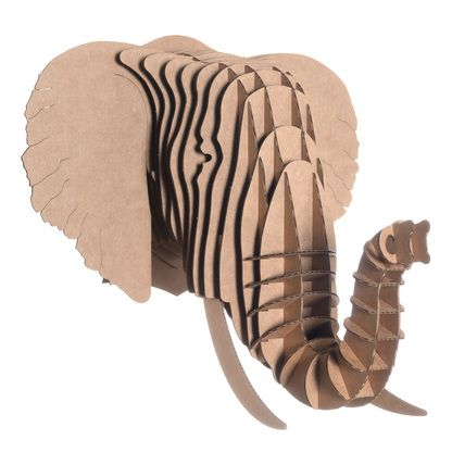 Our Cardboard Elephant Head will never forget where he belongs: on your wall! Eyan is made of environmentally friendly, recycled cardboard.