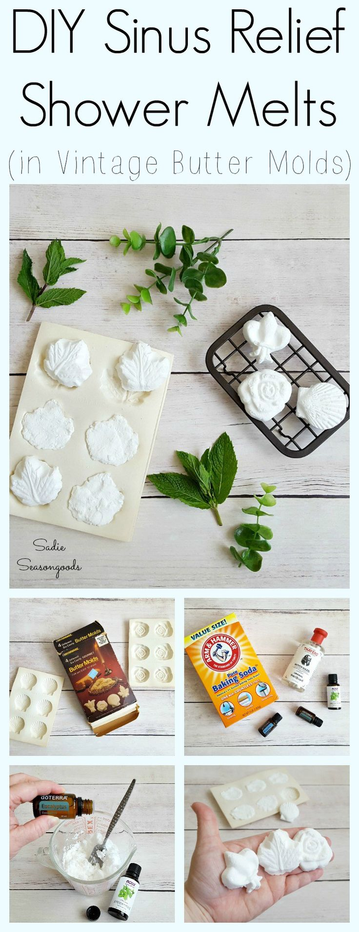 """Repurposing old food molds found at the thrift store (candy, chocolate, or in my case, butter molds) doesn't scream """"Make something to eat!"""". But they are positively PERFECT for upcycling as molds for bath and body products. I made all-natural decongestant shower melts using baking soda, witch hazel, and essential oils...but these would be ideal for making bath bombs and bath fizzies, too. Great craft idea by Sadie Seasongoods / www.sadieseasongoods.com"""