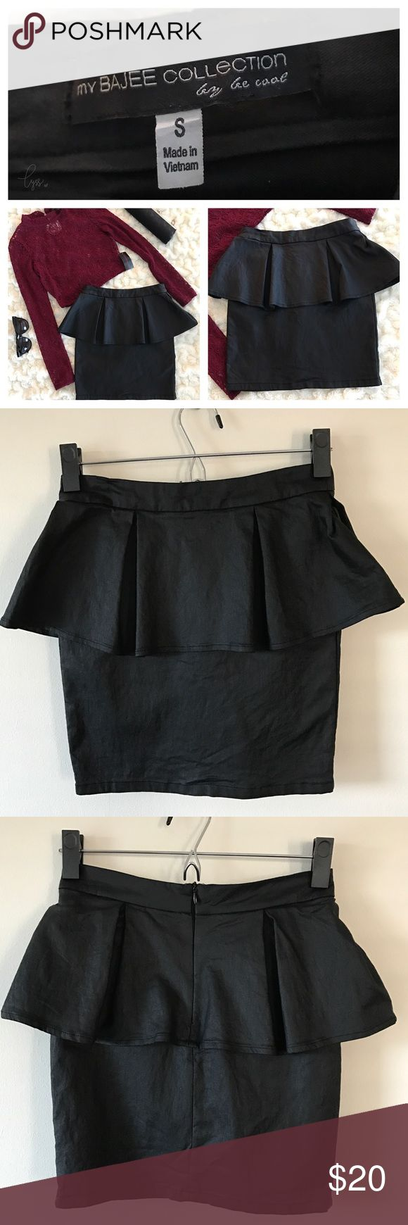 my BAJEE collection Black Peplum Skirt Gently used in good condition!  🖤 my BAJEE collection 🖤 Size Small 🖤 Black 🖤 Faux Leather 🖤 Peplum Skirt my BAJEE collection by be cool Skirts Mini
