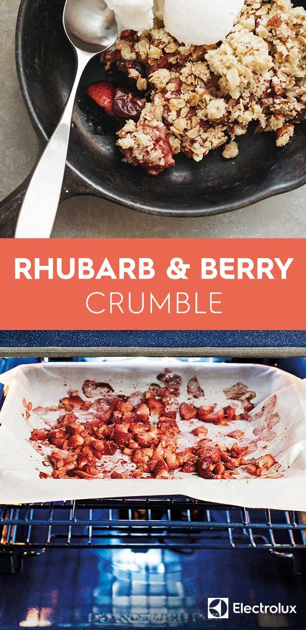 Make the most of seasonal rhubarb this month with this mixed berry and rhubarb crumble recipe from @sproutedkitchen of Sprouted Kitchen. Make it Friday night, and enjoy all weekend!